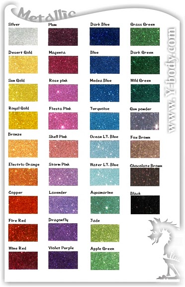 Glitter Color Charts Welcome To Ybody Glitter Tattoos